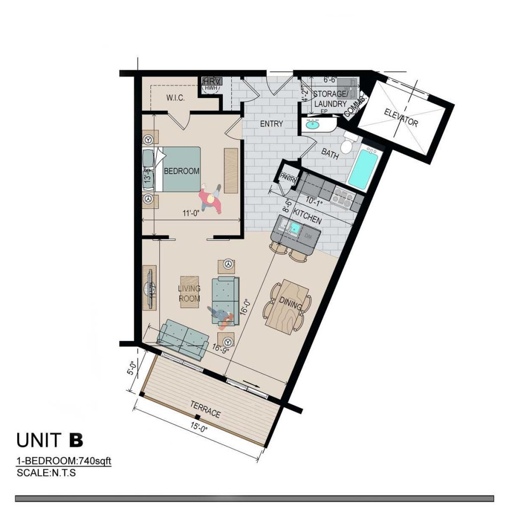 1 Bedroom - 740 Sq Ft